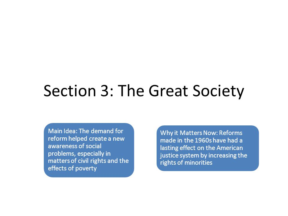 Section 3: The Great Society Main Idea: The demand for reform helped create a new awareness of social problems, especially in matters of civil rights