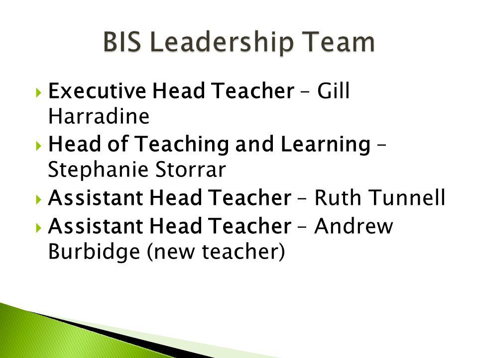  Executive Head Teacher – Gill Harradine  Head of Teaching and Learning – Stephanie Storrar  Assistant Head Teacher – Ruth Tunnell  Assistant Head Teacher – Andrew Burbidge (new teacher)