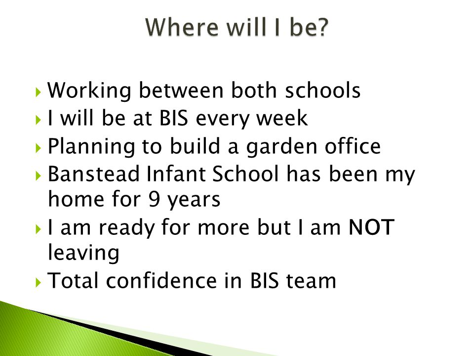  Working between both schools  I will be at BIS every week  Planning to build a garden office  Banstead Infant School has been my home for 9 years  I am ready for more but I am NOT leaving  Total confidence in BIS team