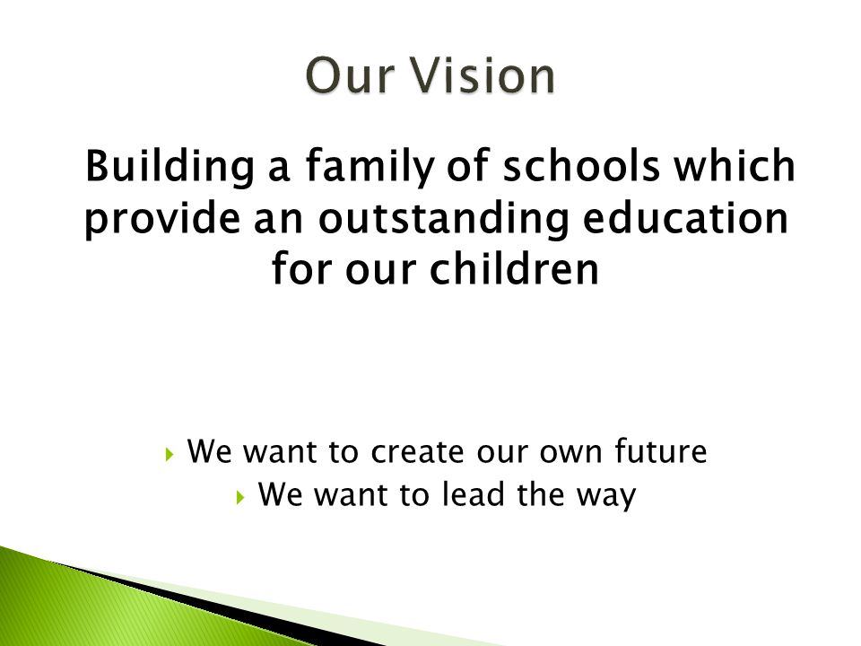 Building a family of schools which provide an outstanding education for our children  We want to create our own future  We want to lead the way