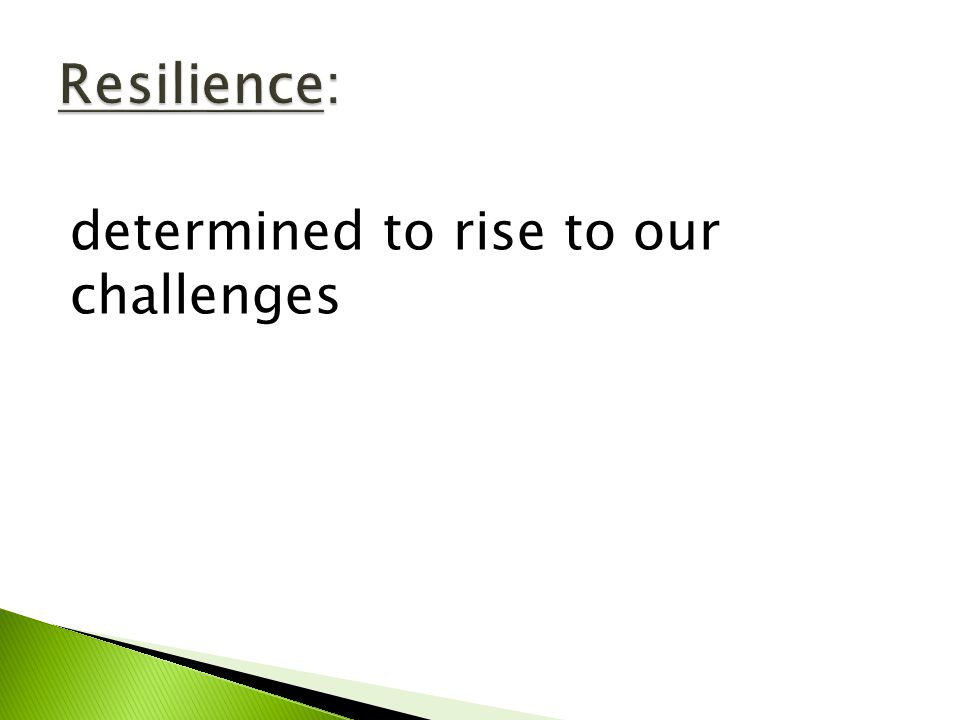 determined to rise to our challenges