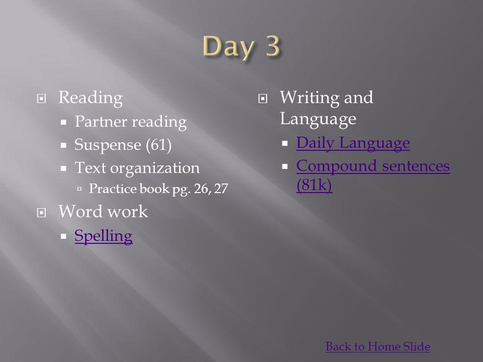  Reading  Partner reading  Suspense (61)  Text organization  Practice book pg.