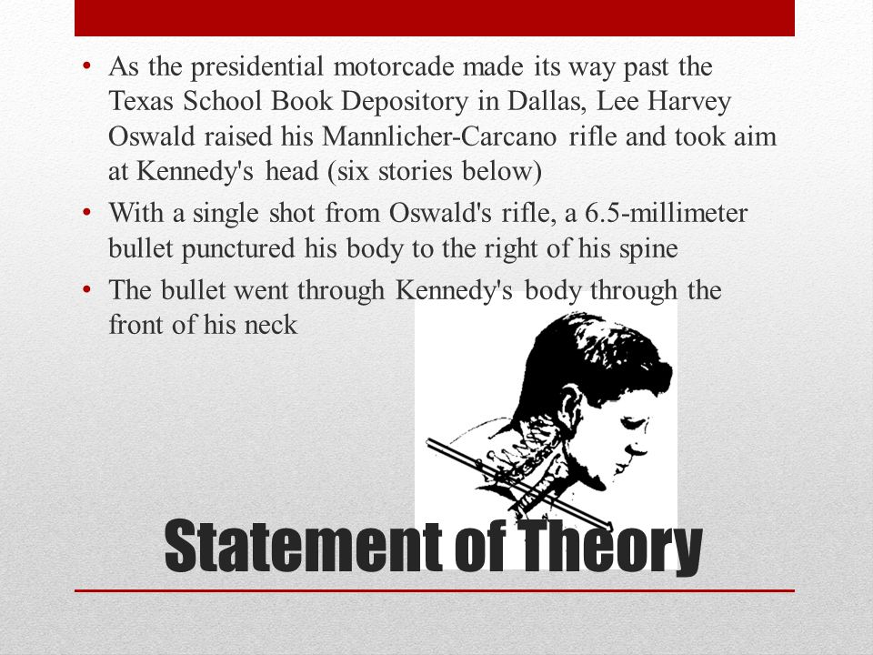 Statement of Theory As the presidential motorcade made its way past the Texas School Book Depository in Dallas, Lee Harvey Oswald raised his Mannliche