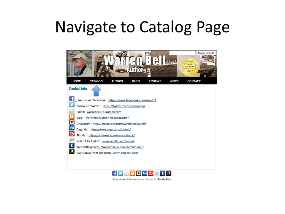 Navigate to Catalog Page