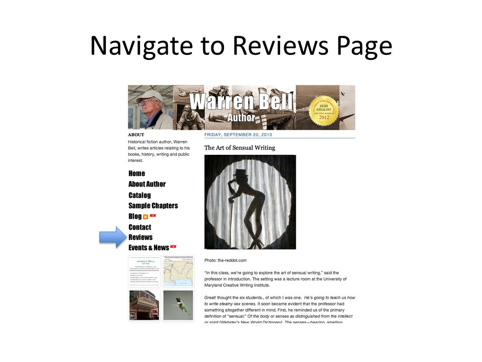 Navigate to Reviews Page
