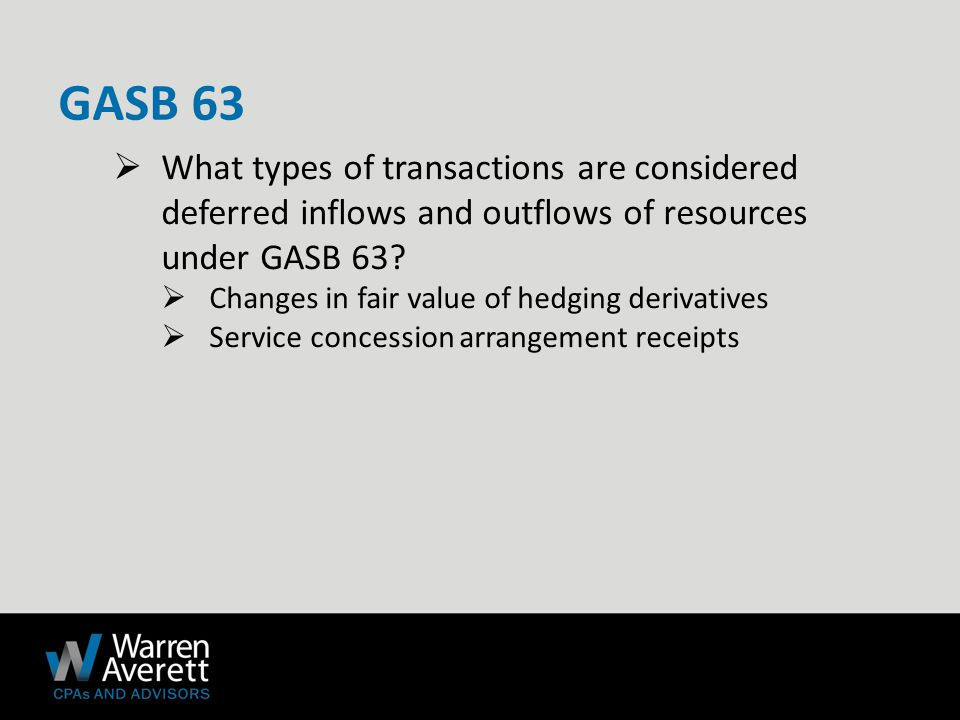  What types of transactions are considered deferred inflows and outflows of resources under GASB 63.