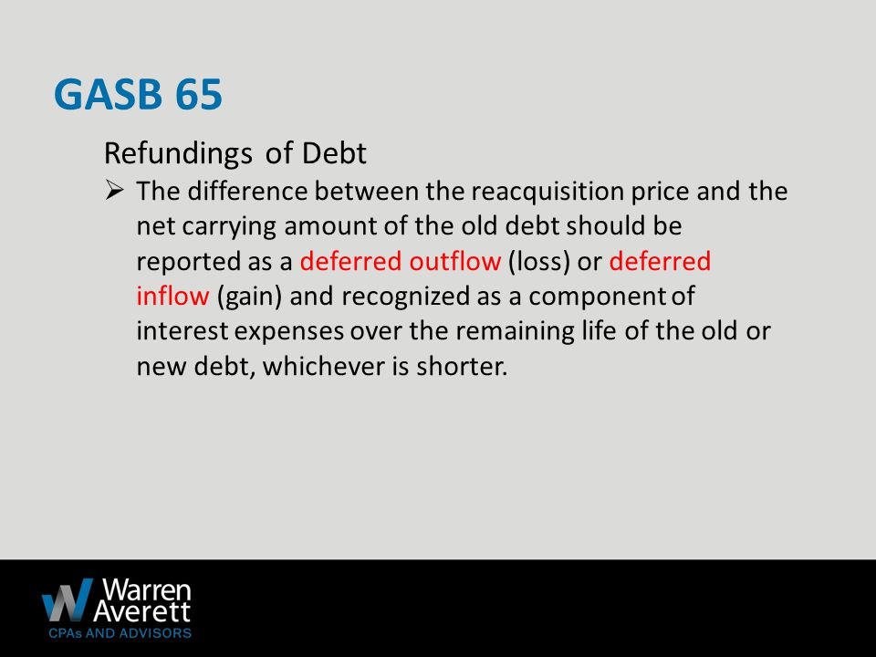 Refundings of Debt  The difference between the reacquisition price and the net carrying amount of the old debt should be reported as a deferred outflow (loss) or deferred inflow (gain) and recognized as a component of interest expenses over the remaining life of the old or new debt, whichever is shorter.