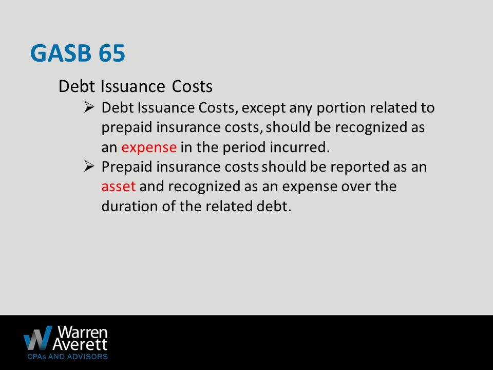 Debt Issuance Costs  Debt Issuance Costs, except any portion related to prepaid insurance costs, should be recognized as an expense in the period incurred.