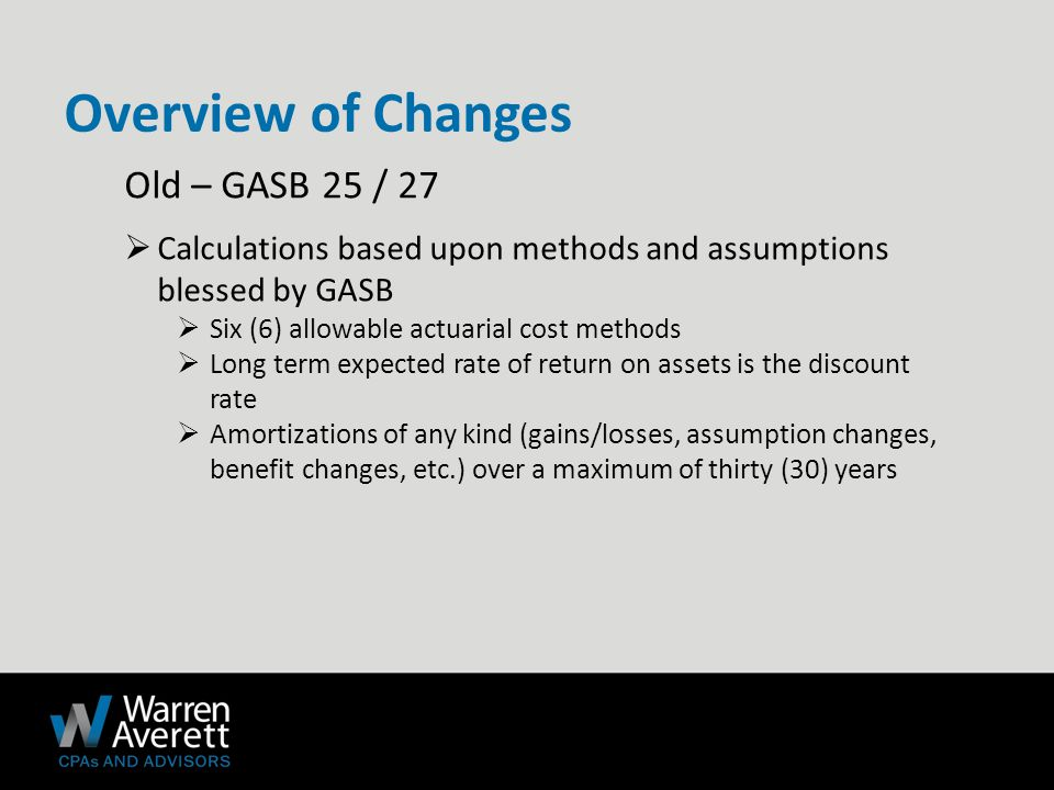 Old – GASB 25 / 27  Calculations based upon methods and assumptions blessed by GASB  Six (6) allowable actuarial cost methods  Long term expected rate of return on assets is the discount rate  Amortizations of any kind (gains/losses, assumption changes, benefit changes, etc.) over a maximum of thirty (30) years Overview of Changes