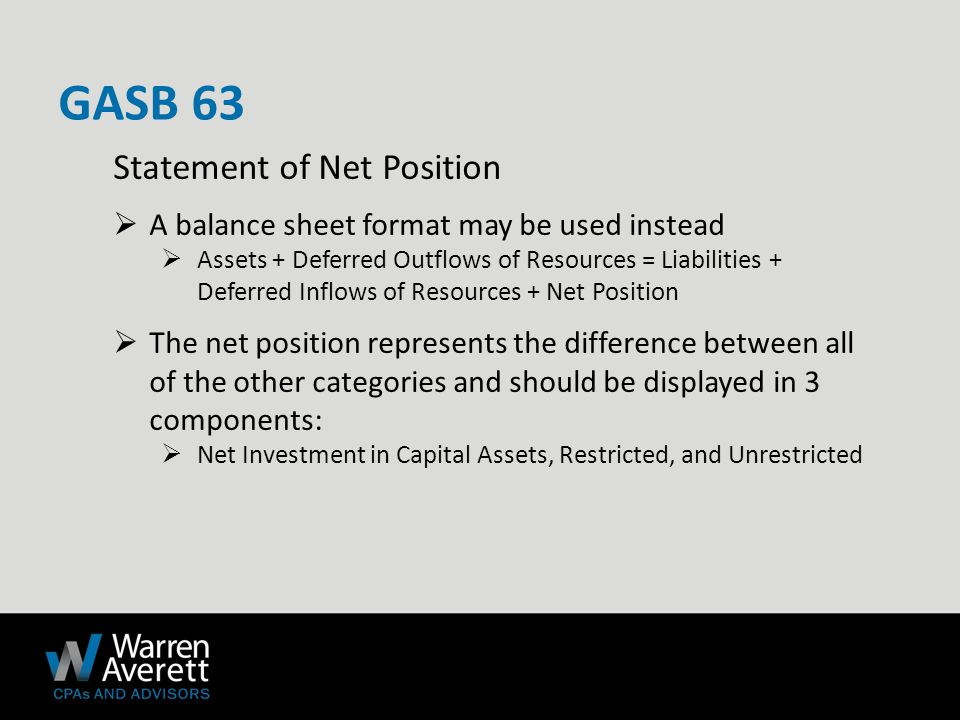  Economic Resources Measurement Focus  Preferred reporting format is: assets + deferred outflows – liabilities – deferred inflows = net position  Traditional balance sheet format is permitted: assets + deferred outflows = liabilities + deferred inflows + net position  Governmental Fund Financial Statements  Required reporting format is: assets + deferred outflows = liabilities + deferred inflows + fund balance 9 GASB 63