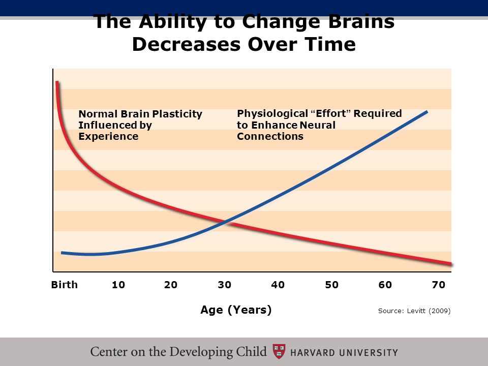 The Ability to Change Brains Decreases Over Time Source: Levitt (2009) Birth102030 Physiological Effort Required to Enhance Neural Connections Normal Brain Plasticity Influenced by Experience Age (Years) 40506070