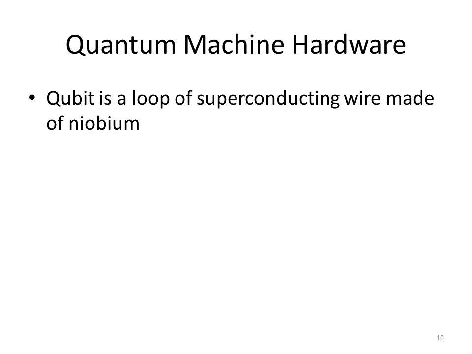 Quantum Machine Hardware Qubit is a loop of superconducting wire made of niobium 10