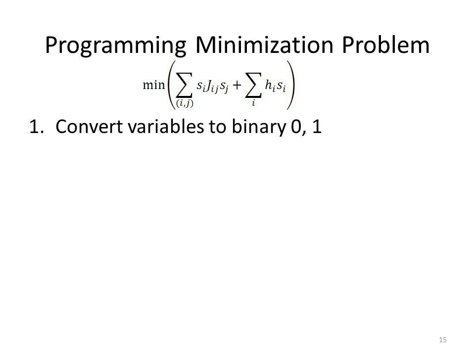 Programming Minimization Problem 1.Convert variables to binary 0, 1 15
