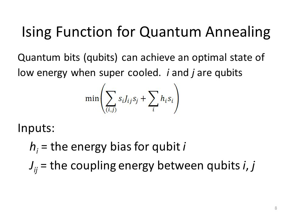 Ising Function for Quantum Annealing Quantum bits (qubits) can achieve an optimal state of low energy when super cooled.