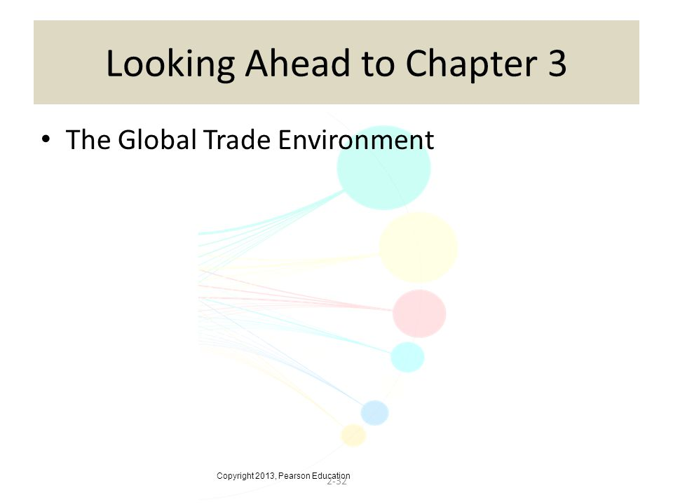 Copyright 2013, Pearson Education 2-32 Looking Ahead to Chapter 3 The Global Trade Environment