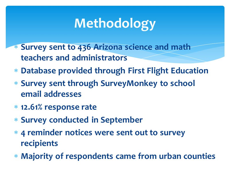  Survey sent to 436 Arizona science and math teachers and administrators  Database provided through First Flight Education  Survey sent through Sur