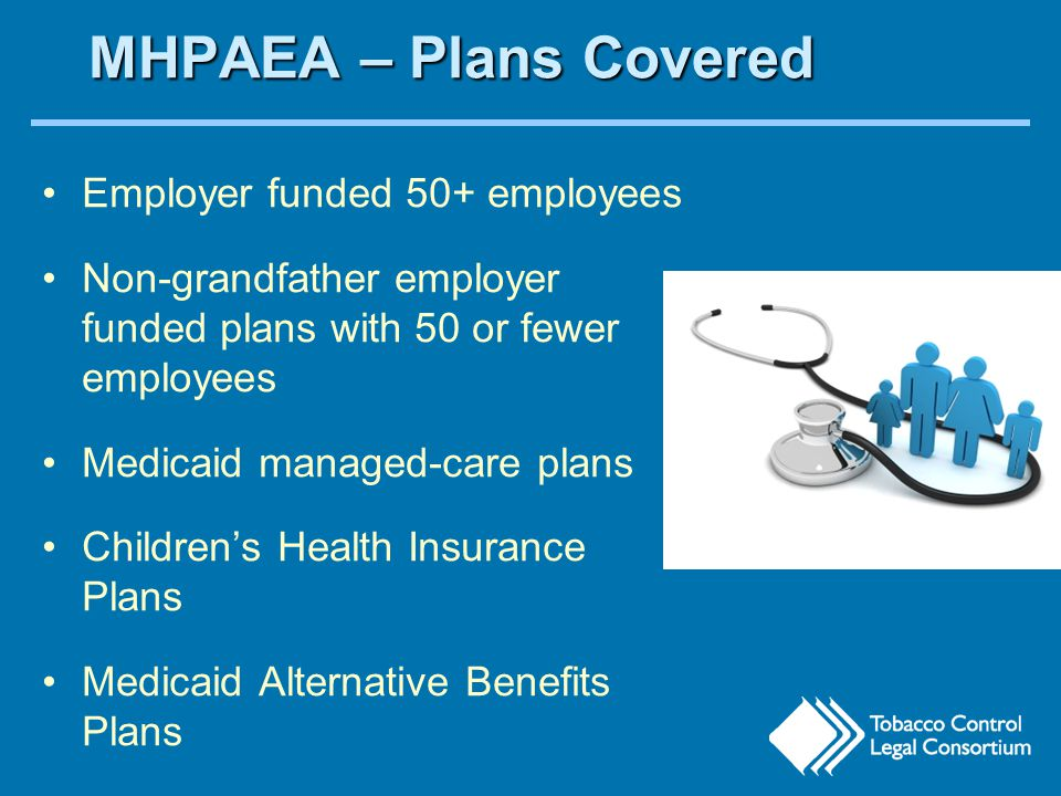MHPAEA – Plans Covered Employer funded 50+ employees Non-grandfather employer funded plans with 50 or fewer employees Medicaid managed-care plans Children's Health Insurance Plans Medicaid Alternative Benefits Plans