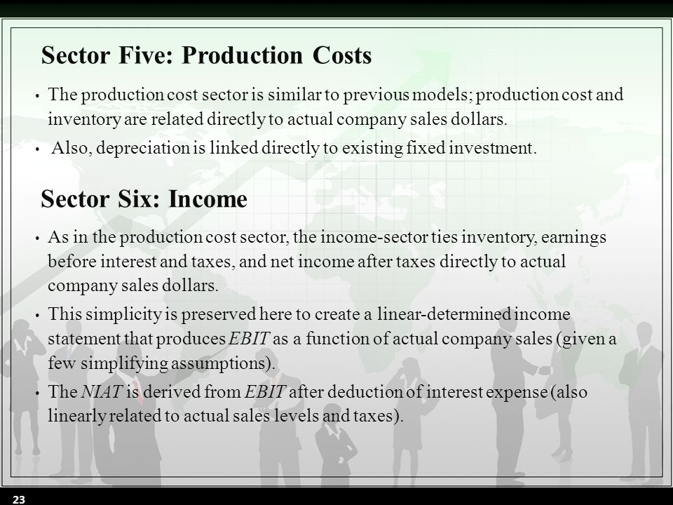 The production cost sector is similar to previous models; production cost and inventory are related directly to actual company sales dollars. Also, de