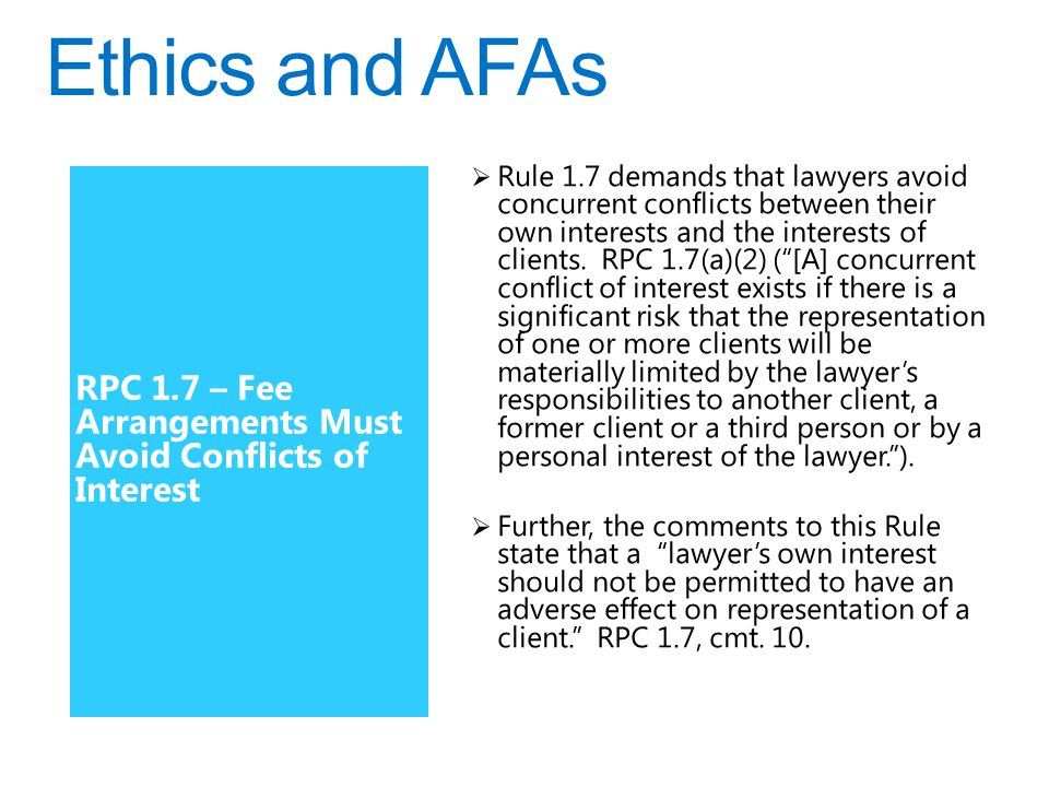 RPC 1.7 – Fee Arrangements Must Avoid Conflicts of Interest