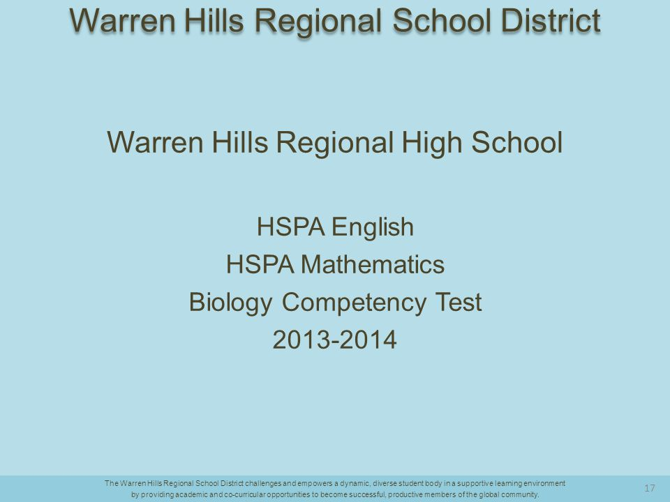 Warren Hills Regional High School HSPA English HSPA Mathematics Biology Competency Test 2013-2014 The Warren Hills Regional School District challenges and empowers a dynamic, diverse student body in a supportive learning environment by providing academic and co-curricular opportunities to become successful, productive members of the global community.