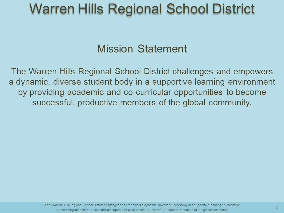 Biology Competency Test 2013 to 2014 2013 64.5 2014 65.5 Difference: 1.6 points [Note: 3.6 points ABOVE the State proficiency and about ON PAR with the DFG.] The Warren Hills Regional School District challenges and empowers a dynamic, diverse student body in a supportive learning environment by providing academic and co-curricular opportunities to become successful, productive members of the global community.