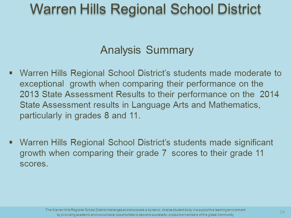Analysis Summary  Warren Hills Regional School District's students made moderate to exceptional growth when comparing their performance on the 2013 State Assessment Results to their performance on the 2014 State Assessment results in Language Arts and Mathematics, particularly in grades 8 and 11.