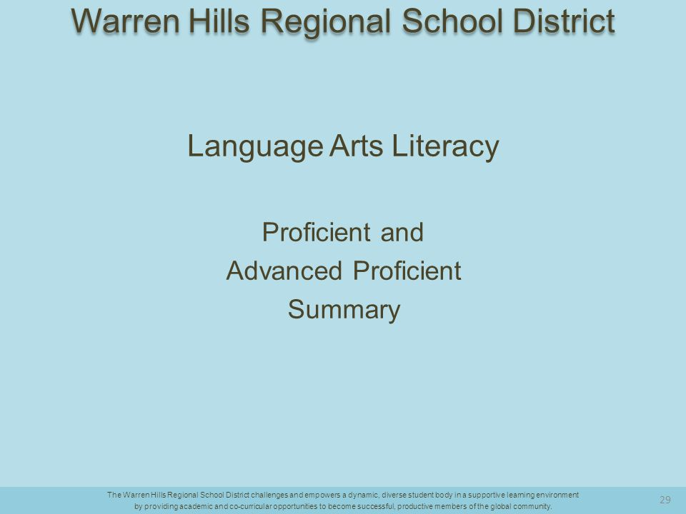 Language Arts Literacy Proficient and Advanced Proficient Summary The Warren Hills Regional School District challenges and empowers a dynamic, diverse student body in a supportive learning environment by providing academic and co-curricular opportunities to become successful, productive members of the global community.