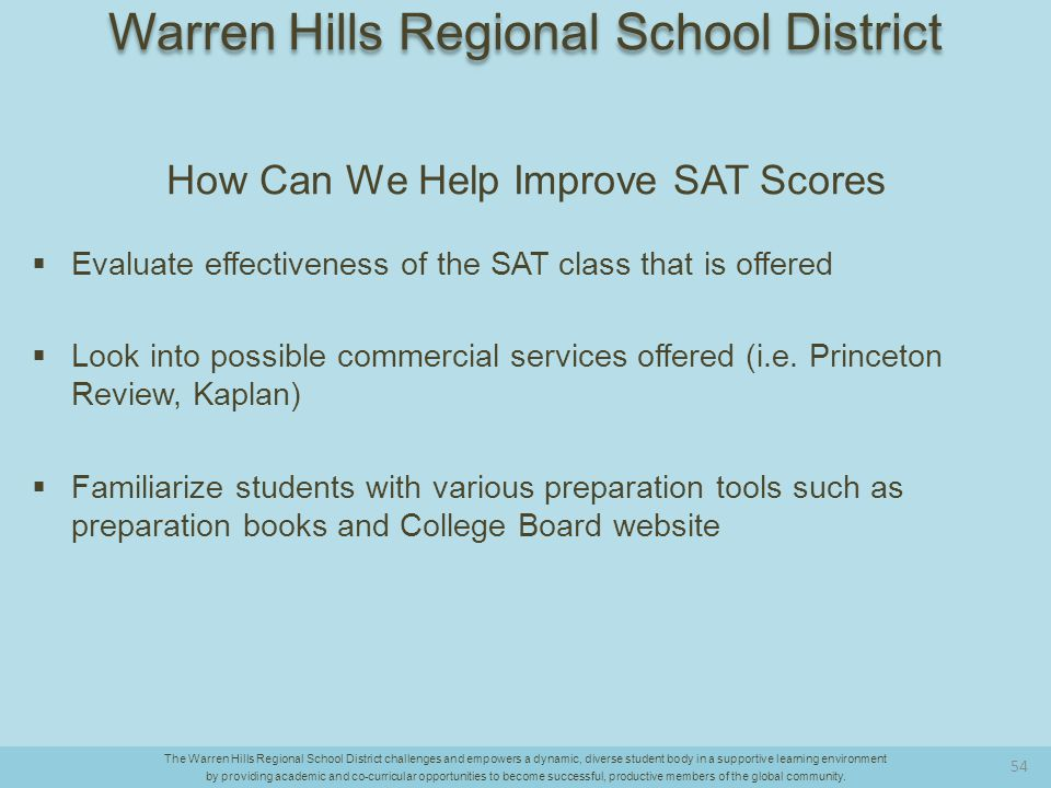 How Can We Help Improve SAT Scores  Evaluate effectiveness of the SAT class that is offered  Look into possible commercial services offered (i.e.