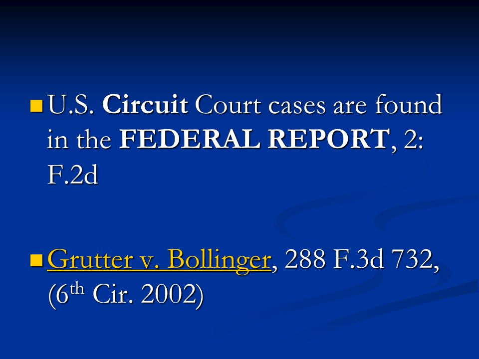U.S. Circuit Court cases are found in the FEDERAL REPORT, 2: F.2d U.S.