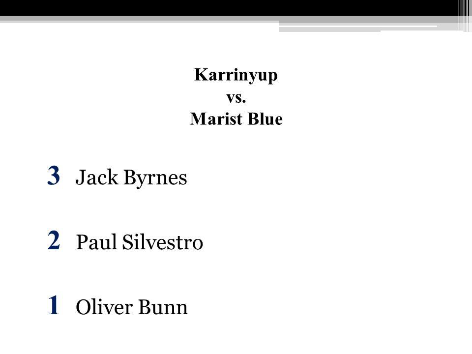 Karrinyup vs. Marist Blue 3 Jack Byrnes 2 Paul Silvestro 1 Oliver Bunn