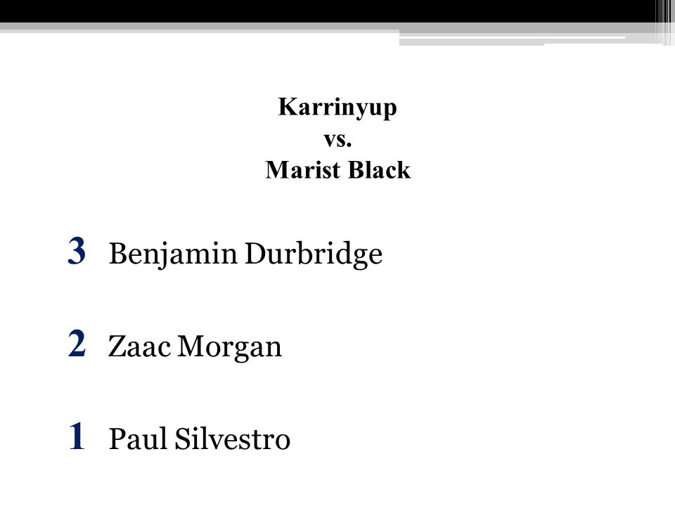 Karrinyup vs. Marist Black 3 Benjamin Durbridge 2 Zaac Morgan 1 Paul Silvestro