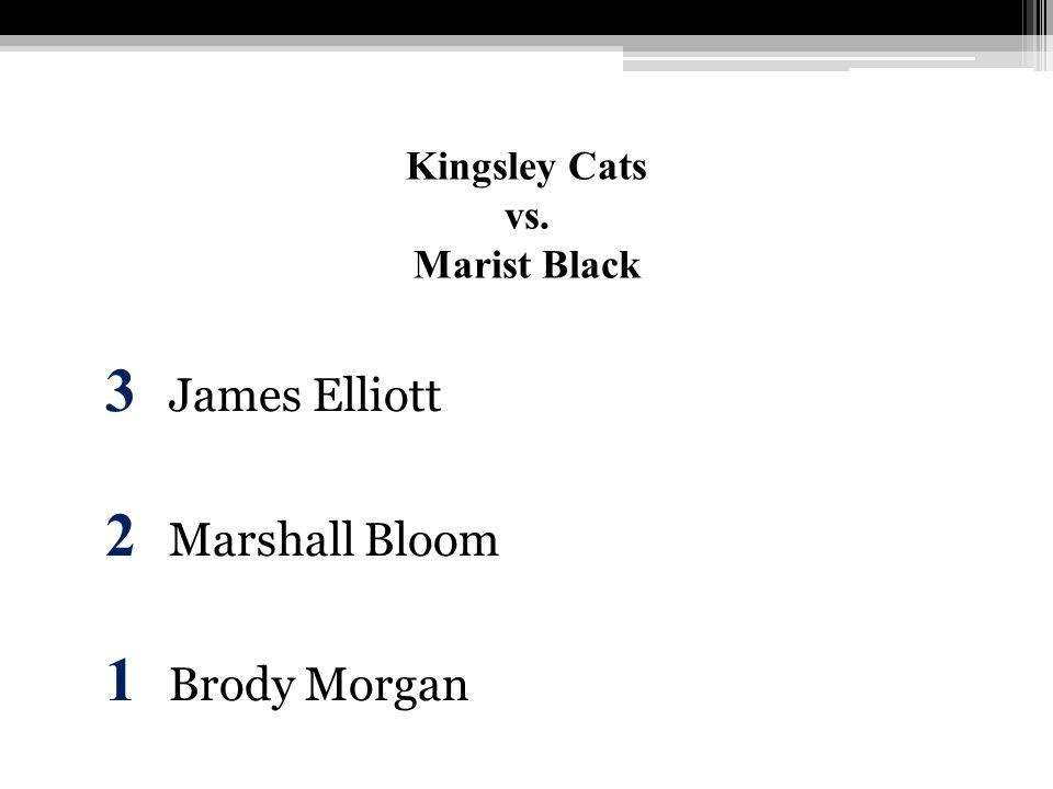 Kingsley Cats vs. Marist Black 3 James Elliott 2 Marshall Bloom 1 Brody Morgan