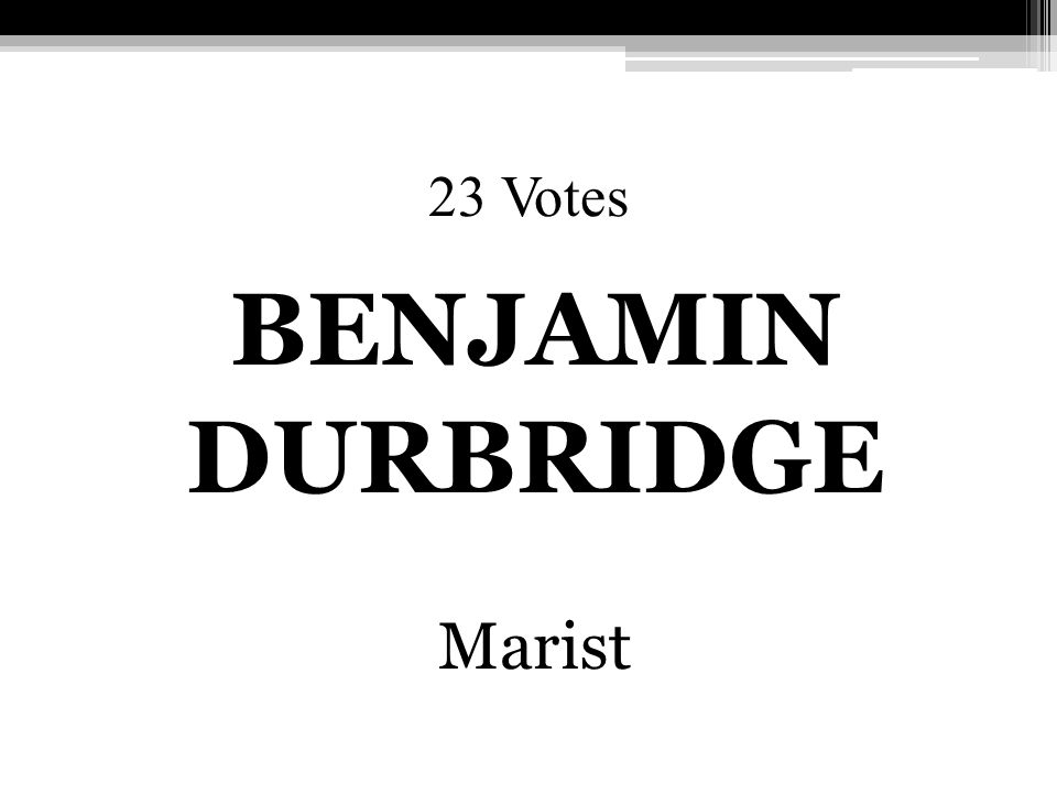 23 Votes BENJAMIN DURBRIDGE Marist