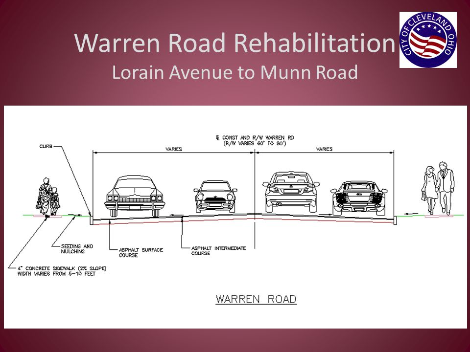 Order of Construction Warren Road – 1 st year Part-width construction Traffic will be maintained in both directions from Lorain to Munn Triskett Road – 2 nd year Part-width construction Traffic will be maintained in both directions from Lorain to Berea Westbound traffic detoured from Berea to West 117 th