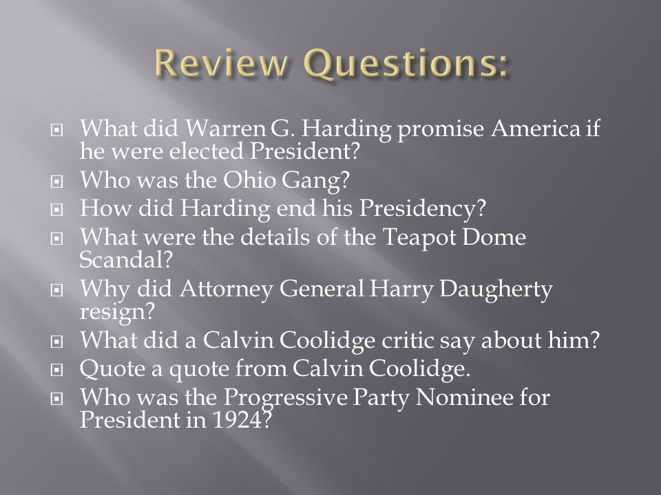  What did Warren G. Harding promise America if he were elected President.