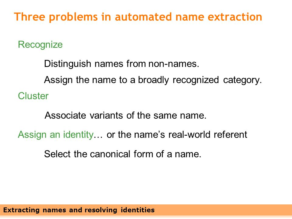 Leveraging Names with Linked Data23 Training is error-prone and time-consuming.