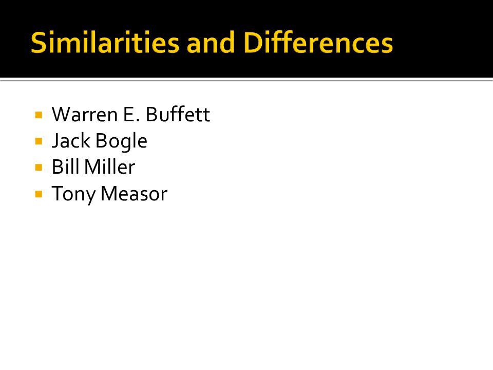  Warren E. Buffett  Jack Bogle  Bill Miller  Tony Measor