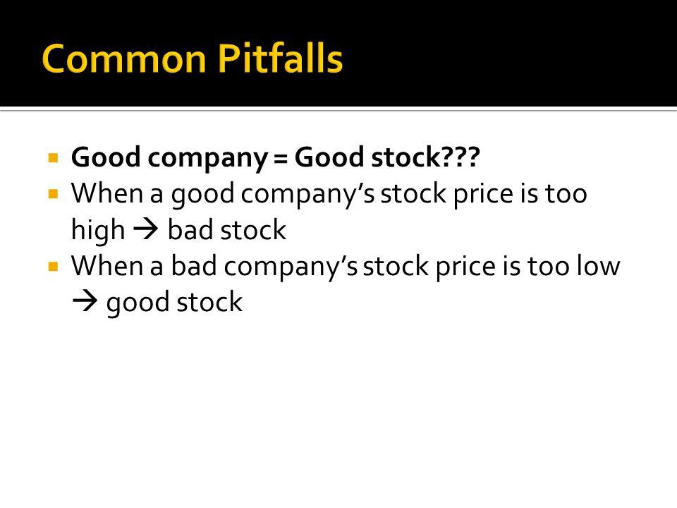  Good company = Good stock???  When a good company's stock price is too high  bad stock  When a bad company's stock price is too low  good stock