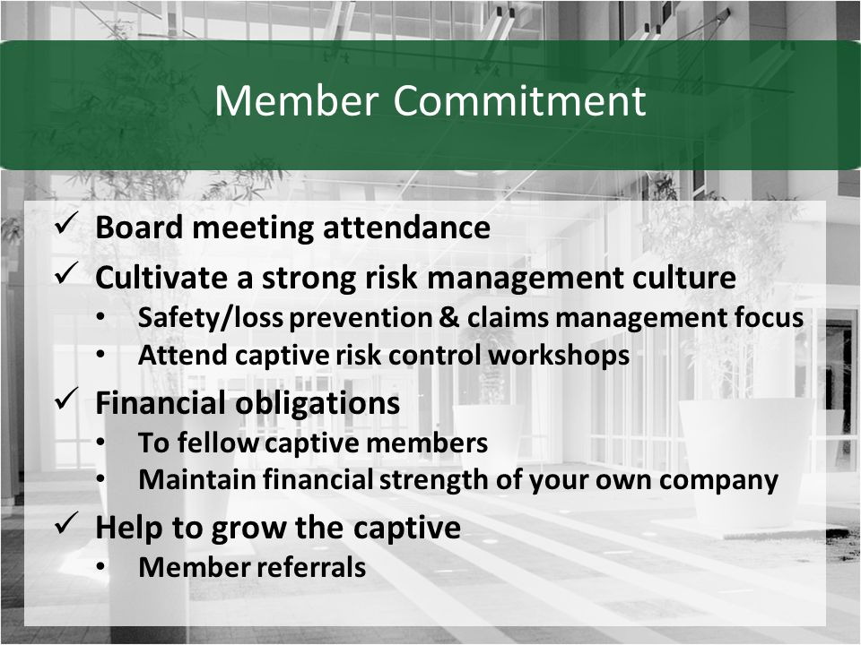 Board meeting attendance Cultivate a strong risk management culture Safety/loss prevention & claims management focus Attend captive risk control workshops Financial obligations To fellow captive members Maintain financial strength of your own company Help to grow the captive Member referrals