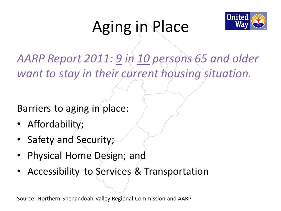 Aging in Place AARP Report 2011: 9 in 10 persons 65 and older want to stay in their current housing situation.