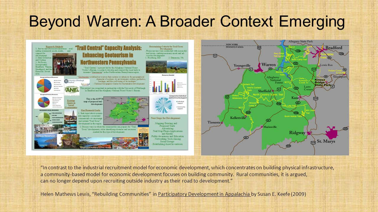 Beyond Warren: A Broader Context Emerging In contrast to the industrial recruitment model for economic development, which concentrates on building physical infrastructure, a community-based model for economic development focuses on building community.