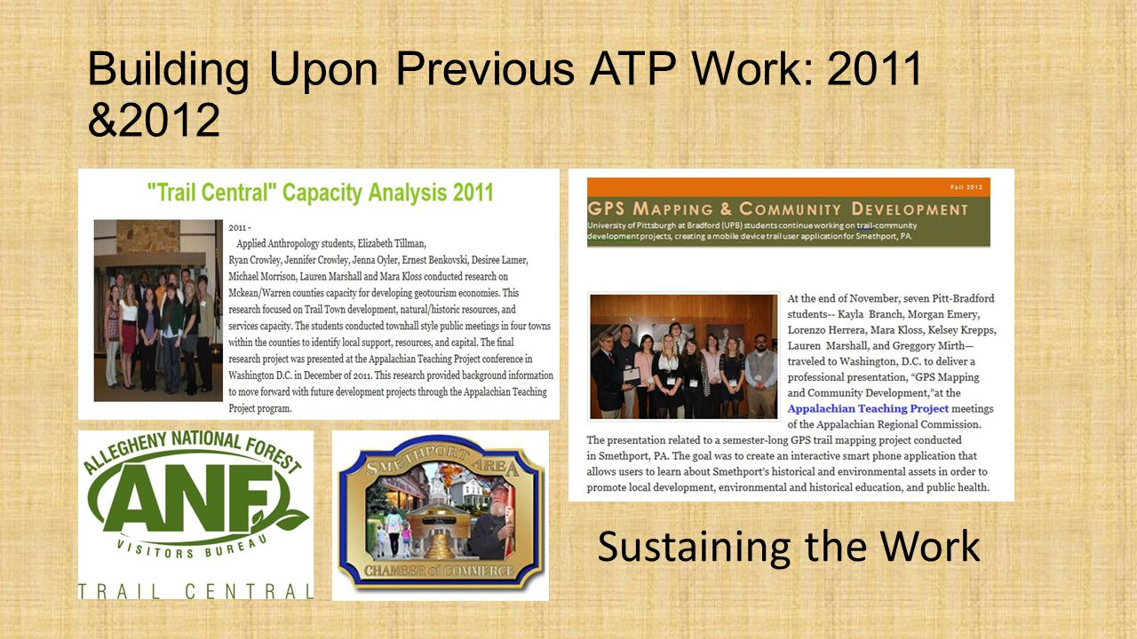 Building Upon Previous ATP Work: 2013 I sought to support the work of existing civic networks that engaged with the region's cultural and natural resources in holistic ways. William Schumann, Alternative Development and Applied Anthropology in Appalachia (2013)