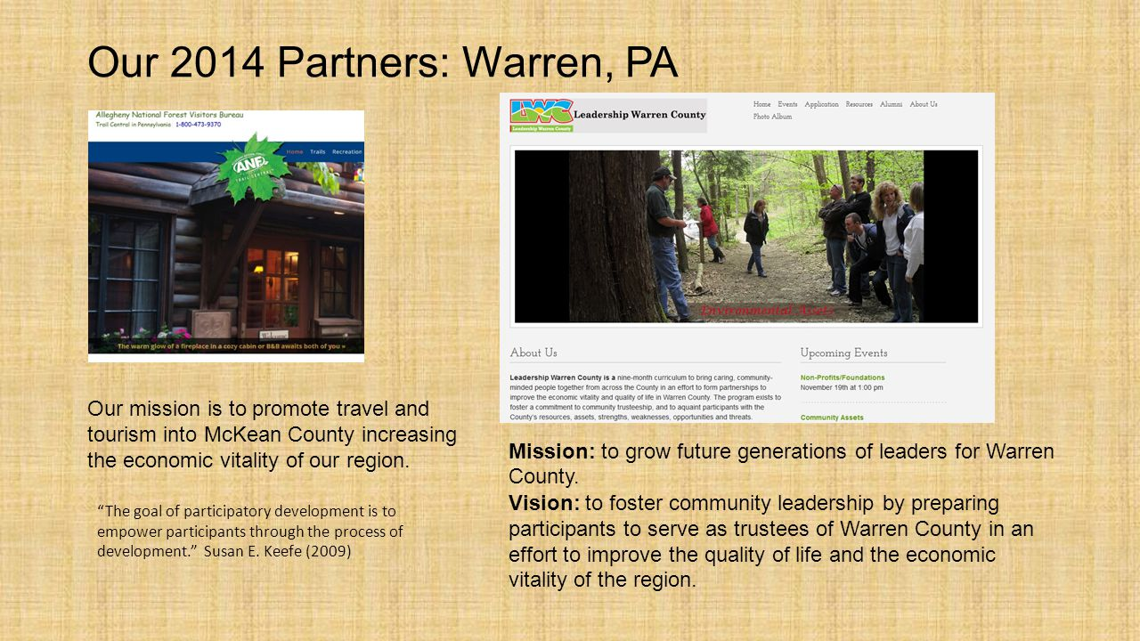Our 2014 Partners: Warren, PA Community-based development requires the ability to recognize and strengthen community identity Susan E.