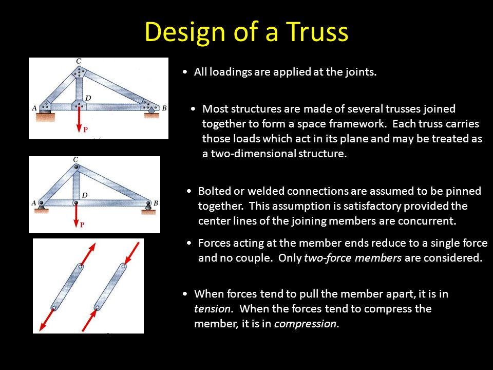 Design of a Truss All loadings are applied at the joints. Bolted or welded connections are assumed to be pinned together. This assumption is satisfact