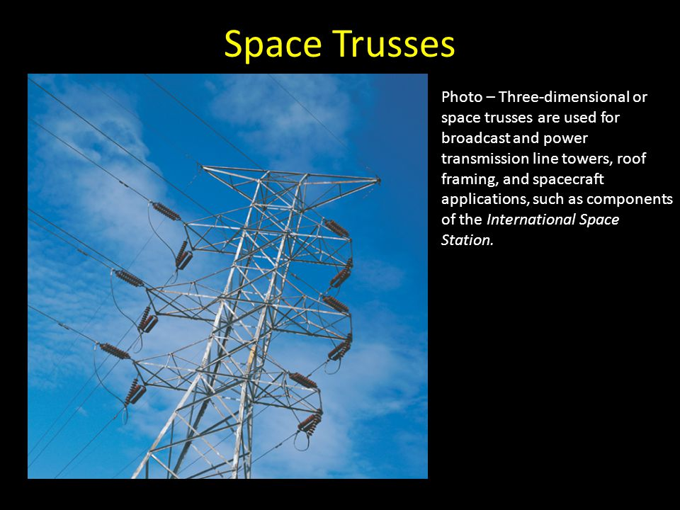 Space Trusses Photo – Three-dimensional or space trusses are used for broadcast and power transmission line towers, roof framing, and spacecraft appli
