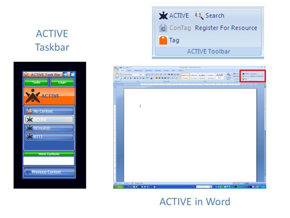 ACTIVE Taskbar ACTIVE in Word
