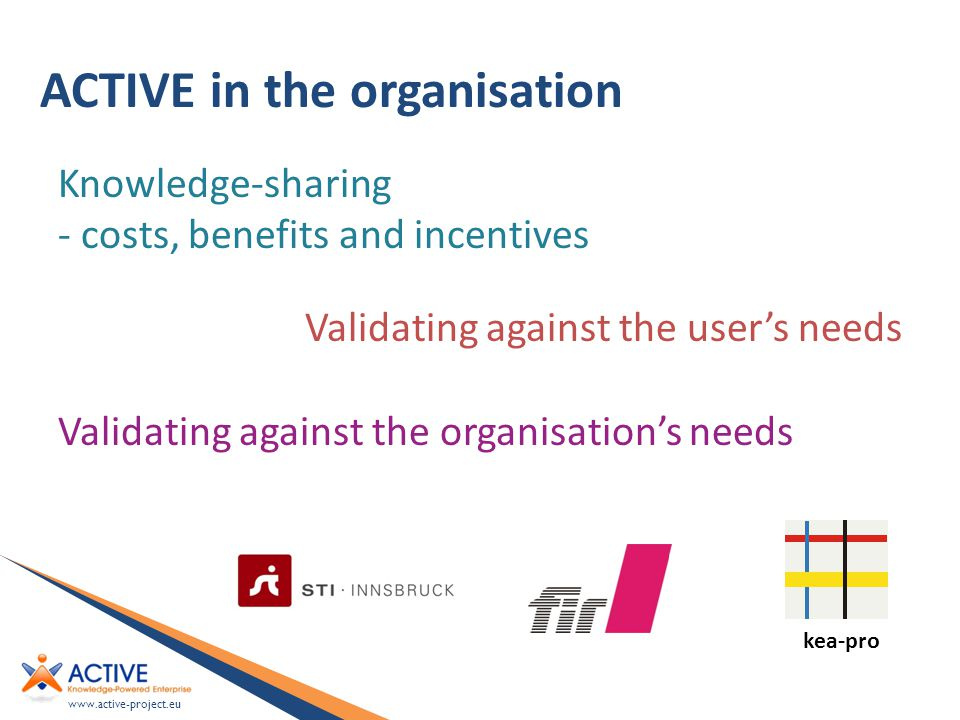 www.active-project.eu ACTIVE in the organisation Knowledge-sharing - costs, benefits and incentives Validating against the user's needs Validating against the organisation's needs kea-pro