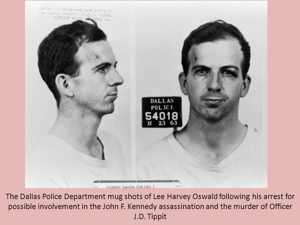 The Dallas Police Department mug shots of Lee Harvey Oswald following his arrest for possible involvement in the John F.