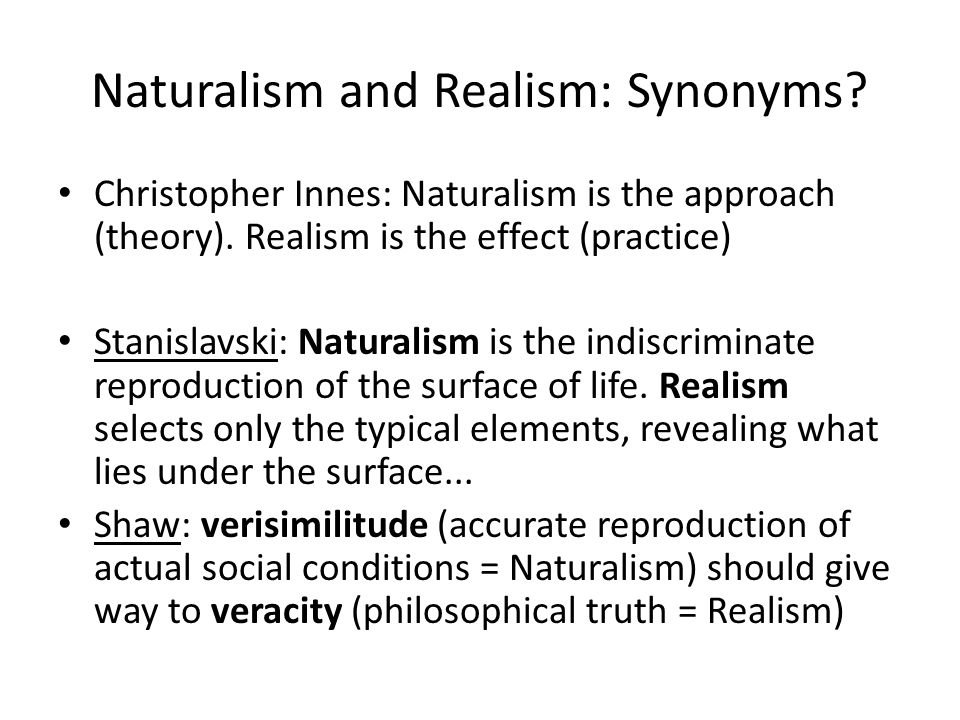 Naturalism and Realism: Synonyms. Christopher Innes: Naturalism is the approach (theory).