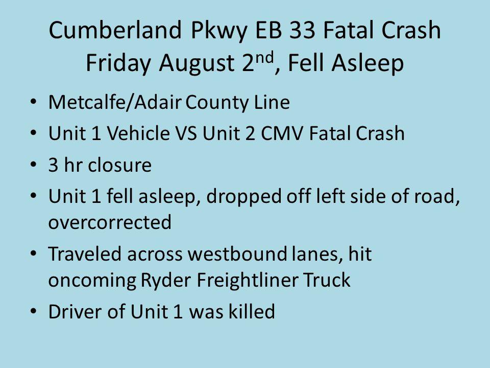 Cumberland Pkwy EB 33 Fatal Crash Friday August 2 nd, Fell Asleep Metcalfe/Adair County Line Unit 1 Vehicle VS Unit 2 CMV Fatal Crash 3 hr closure Uni